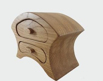 Oak Mantle Clock Style Wooden Bandsaw Jewellery Trinket Box