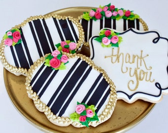 Striped Rose Blossom and Gold Braid Royal Icing Vanilla Bean Sugar Cookie - One Dozen
