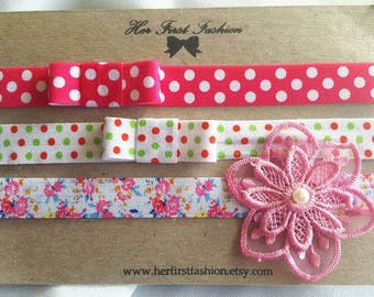 SET Of Three Headbands For Spring and Summer
