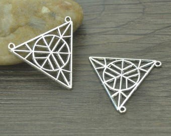 Pair - Antique tibetan Silver Geometric Charm 34*32mm D15