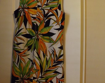 Vintage 1960's Rhapsody Summer Tropical Sleeveless Dress