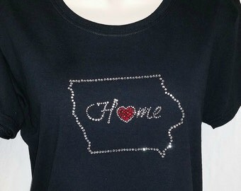 IOWA Home State Rhinestone T-shirts - Be Proud of IOWA!