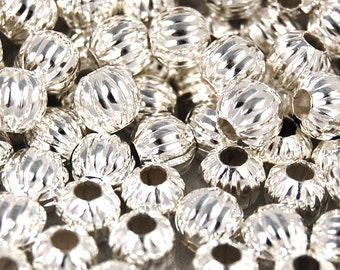 200 beads, 6mm Silver Spacer beads