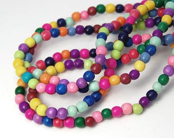 """Two 16"""" Strands, Rainbow Wood Beads 6mm"""