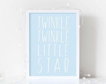 Nursery Print - Twinkle, Twinkle Little Star.  Nursery Rhyme Quote - New Baby Gift - Nursery Decor - available in 5 colours.