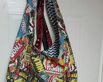 Superhero slouchy hobo bag Thor, Hulk, Captain America