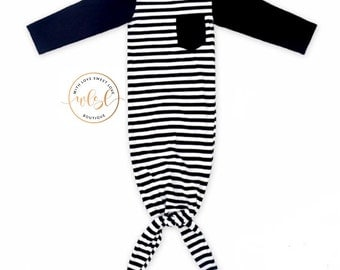 Black & White Stripe Baby Gown