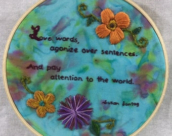 Susan Sontag Quote Embroidery