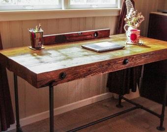 reclaimed office desk. reclaimed wood desk custom order rough cut industrial office