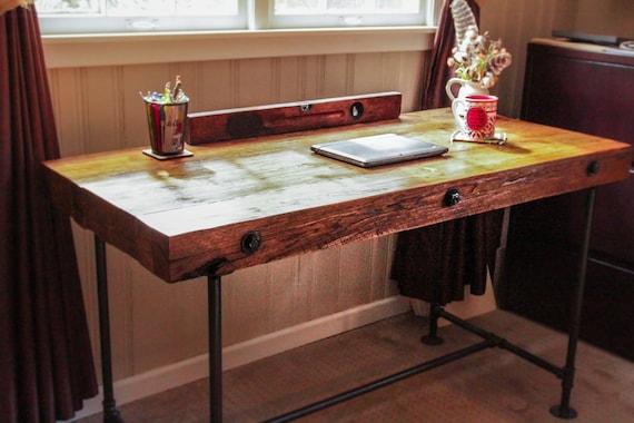 Reclaimed Wood Desk, Custom Order Desk, Rough Cut Wood Desk, Industrial  Desk, - Reclaimed Wood Desk Custom Order Desk Rough Cut Wood Desk