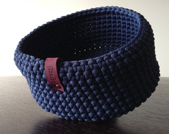 Dark blue crochet basket