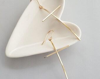 Gold Cross Dangle Earrings,Gold Cross Earrings,Cross Dangle Earrings,Gold Cross Dangle Earrings,Long Cross Earrings,Simple Cross Earrings
