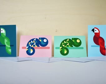 Geometric animals | 4 greeting cards