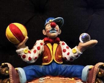 ON SALE Vintage Spoontiques Juggling Clown Figurine w/ Swarovski Crystal