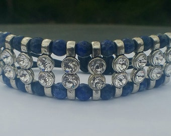 Lapis Lazuli Beaded Macrame Statement Bracelet, Lapis Lazuli Beads, Macrame Finish, Silver Plated Metal, Clear Glass Beads