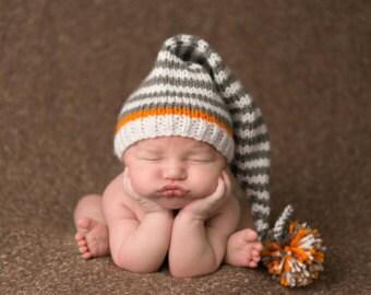 Newborn Pom Pom Stocking Cap, Long Tail Stocking Hat, Grey Gray Baby Hat, Baby Pixie Hat, Handmade Baby Hat, Newborn Gnome Hat, Photo Prop
