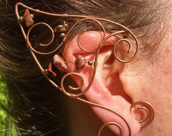 Elven Pixie Ear Cuff Pair with Red Jasper Crystals