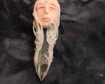 Crone goddess moon crystal smelt aura Wiccan handmade clay point