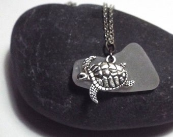 White Sea Glass and Turtle Necklace