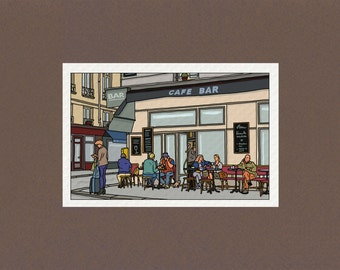 University - Illustration Paris - draw Street on fine art paper with a go anywhere on map Canson