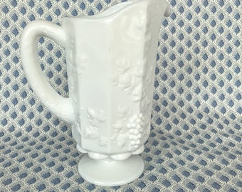 Vintage Milk glass Vine and Grape Pitcher