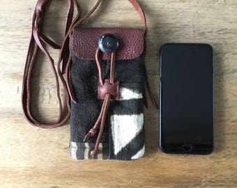Crossbody Cell Phone Purse-African MudCloth Mobile Pouch-Patchwork Crossbody Pouch
