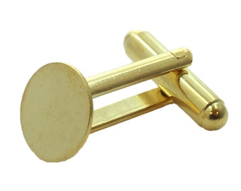Cuff Link blanks with an 11mm Pad, set your own stone or cabochon, Available in Gold Plating or Nickle Plating