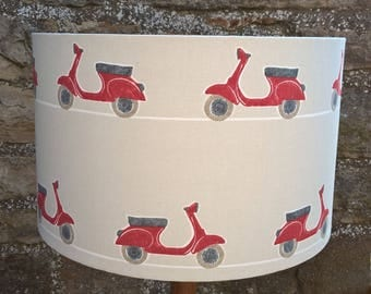 Scooter print fabric lampshade