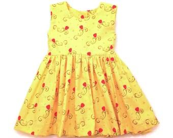 Beauty and the Beast, Girls Dress, Tea Party Dress, Toddler Dress, Flower Girls Dress, Girls Party Dress, Summer Dress