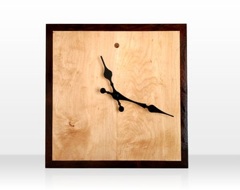 Square Maple and Walnut Wall Clock