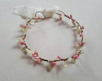 Coral berry and Gold leaf garland flower crown