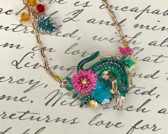 Handmade Enamel Alligator Necklace, Crocodile, 3D, Gold, Animal, Nature, Unique, Mother's Day