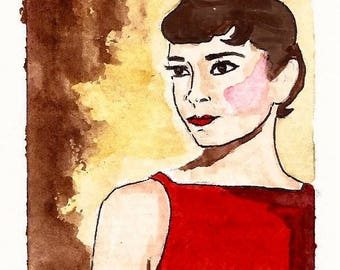 Original Water Color Painting Audrey Hepburn in red dress