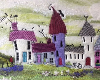 Before The Giants Came 5, Felted Picture, Fibre Art, Fantasy Art, Textile Picture, One of a kind, Little Houses, Fantasy Houses, Handmade