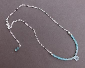 Apatite Blue Quartz Drop Gemstone Necklace Sterling Silver Chain Sundance Style