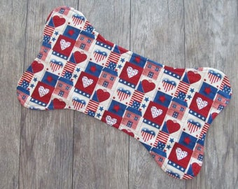 Dog Bone Placemat, Reversible Pet Food Mat, Americana Dog Food Mat, Dog Food Placemat, Pet Placemat, Dog Bowl Mat