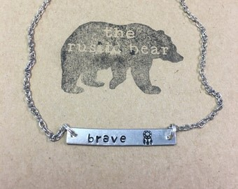SALE! Hand Stamped Brave Bar Necklace with Dream Catcher