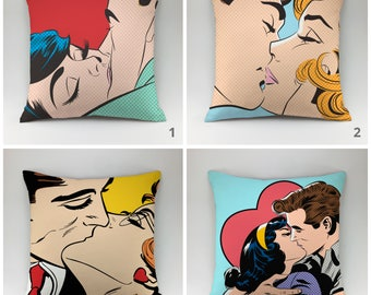 Pop Art pillow cover Decorative pillow Throw pillow love pillow Comic Book Pillow Cartoon Pillow Comic Pillow cinema pillow pop art style