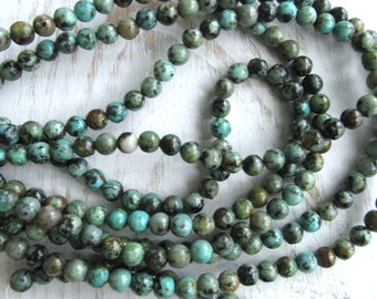 6mm African Turquoise, full strand, green turquoise, 6mm african beads, Mala beads, bracelet beads, bead supplier, 6mm green beads
