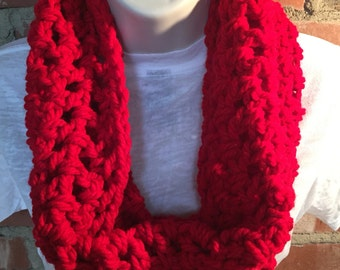 Red Cowl Neck Infinity Scarf | Red Scarf | Valentine's Day Gift