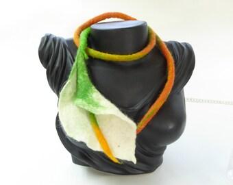Felted necklace or waist belt, calla flower, white, green, Orange, Merino Wool ornament, handmade unique piece of jewelry, gift for ladies, elegant