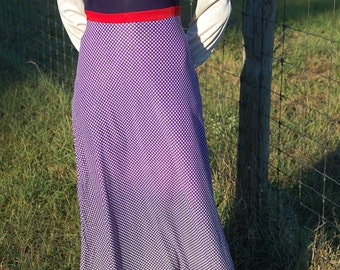 60s bias cut color block maxi dress with long sleeves | Ombre polka dot skirt | Mad Men | Megan Draper | Retro hippie meets Mod | 4|6