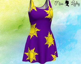 Purple sun Tangled Rapunzel inspired tank top flare dress