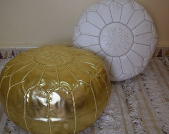 Set of 2 moroccan poufs, ottoman luxury white & gold floor poufs, moroccan home decor