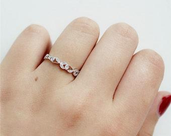 Leaf Design Round Full Eternity Diamonds Ring in 14K White Gold/Wedding&Engagement Ring/Promise Ring/Anniversary Ring/Unique Ring/Bridal Set