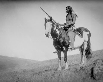 Native American Photo, American Indian Riding Horse, Indigenous Americans, American History, 1905 Wall Art print, Medicine Owl on Horse