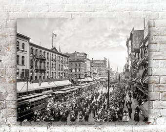 Buffalo NY Photo, Labor Day Parade, New York State, Black White Photography, Wall Art, Poster Art, 1900