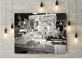 New York City, Italian Grocer Photo, Italian Immigrants, NYC, Little Italy, Kitchen Wall Decor, Home Decor, Art Print, black white print