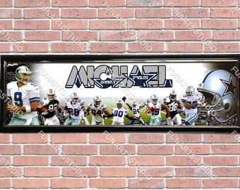 Dallas cowboys frame etsy for Dallas cowboys stadium wall mural