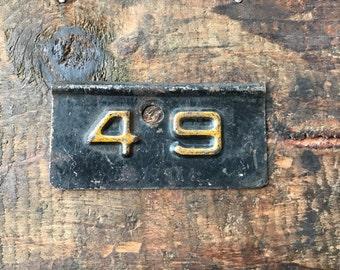 ON HOLD Vintage Tin Number 49 Label, Finding,Vintage locker Number